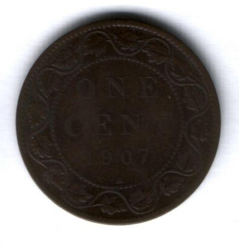 1 цент 1907 г. H Канада, редкий тип