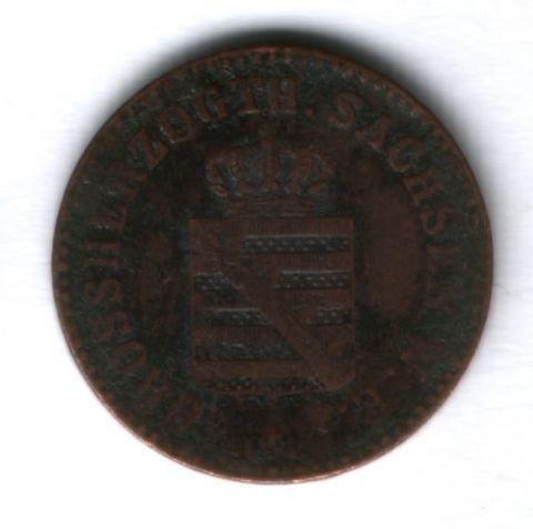 2 пфеннига 1858 г. Саксен-Веймар-Эйзенах, Германия