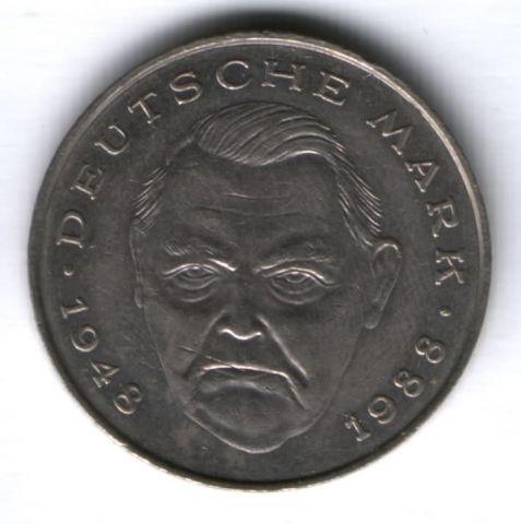 2 марки 1988 г. Германия, Людвиг Эрхард, J