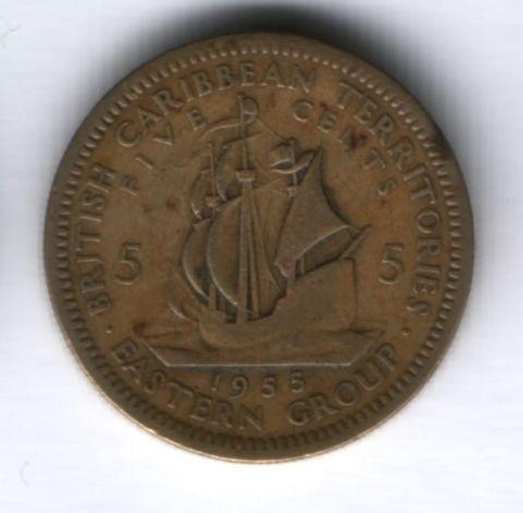 5 центов 1955 г. Восточно-Карибские государства