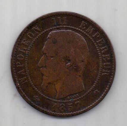10 сантимов 1857 г. редкий тип. К. Франция