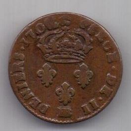 2 денье 1707 г. Франция