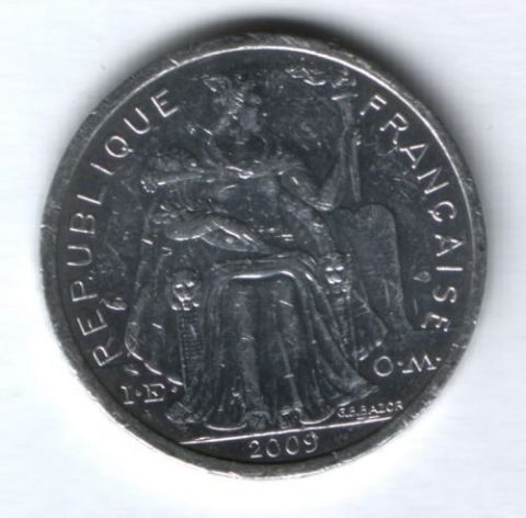 2 франка 2009 г. Новая Каледония