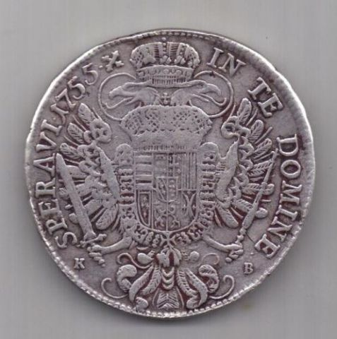 1 талер 1755 г. Австрия. Священная Римская Империя
