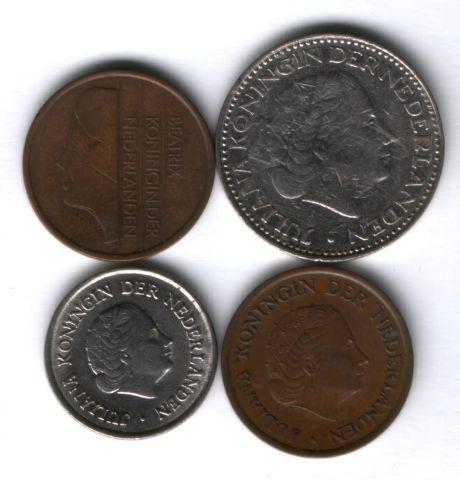 Набор монет Нидерланды 1961-1993 г. 4 шт.