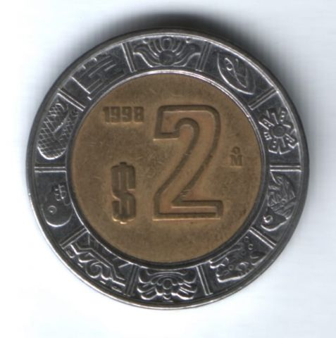 2 песо 1998 г. Мексика