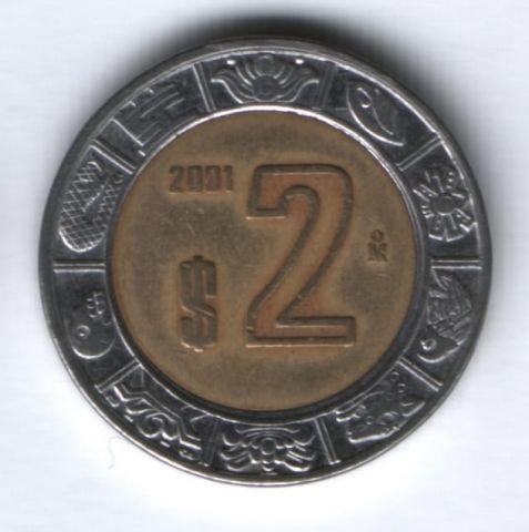2 песо 2001 г. Мексика
