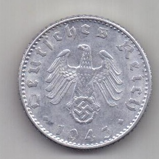 50 пфеннигов 1943 г. UNC. D. Германия