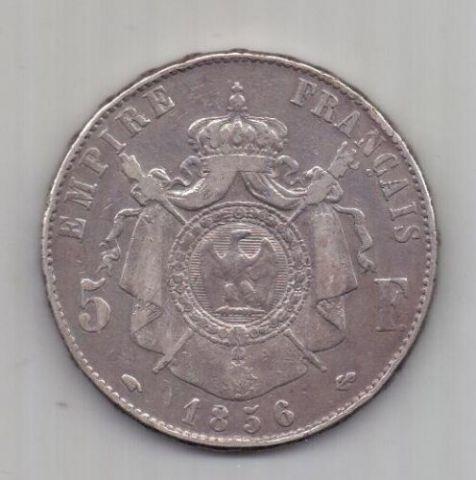 5 франков 1856 г. редкий год. Франция