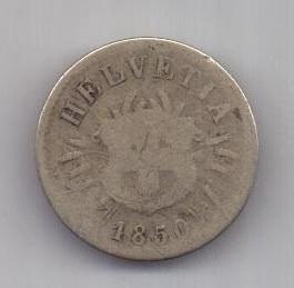 5 раппен 1850 г. Швейцария