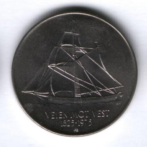 5 крон 1975 г. Норвегия UNC, 150 лет иммиграции в Америку