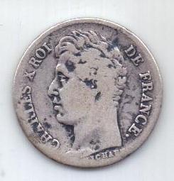 1/2 франка 1827 г. Франция