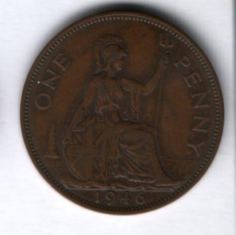 1 пенни 1946 г. Великобритания