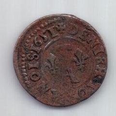 1 денье турнуа 1651 г. Домб. Франция