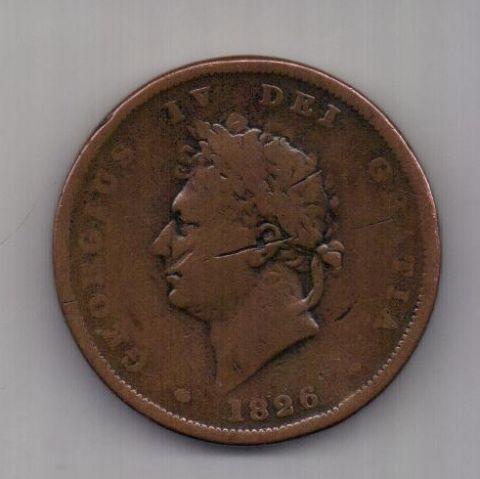 1 пенни 1826 г. Великобритания